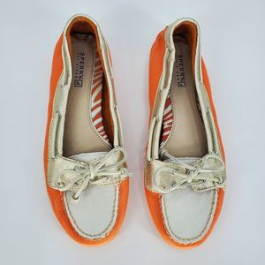 SPERRY TOPSIDER orange & white boat shoes